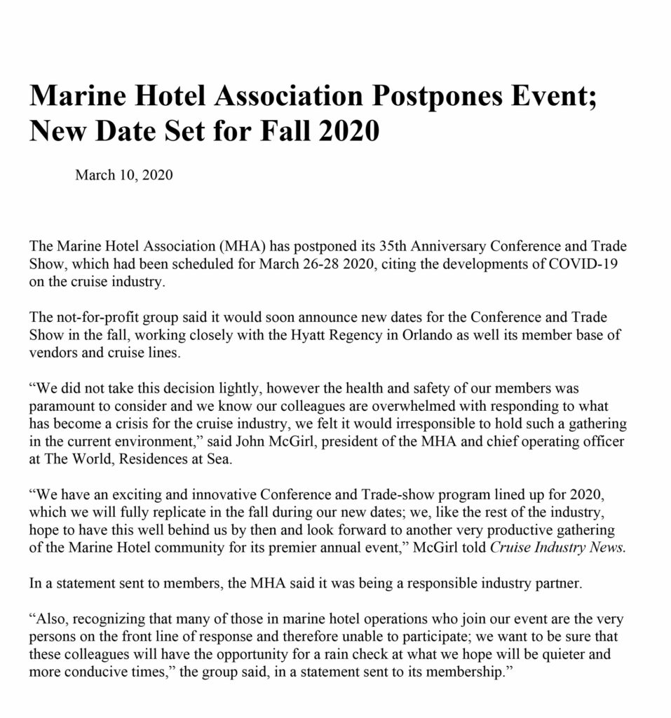 Marine Hotel Association Postpones 2020 Event